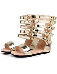 Zapatos de verano para niñas Zapatos de niños romanos Zapatos de tacón alto para niños Zapatos de niña con punta abierta Sandalias de niña