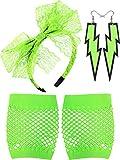 Blulu Diadema de Encaje de los Años 80 Pendientes de Neon Guantes de Malla sin Dedos para Fiesta de los Años 1980 (Verde Fluorescente)