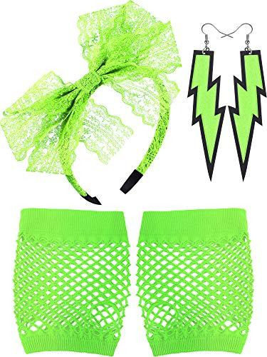 (80 Jahre Spitze Stirnband Neon Ohrringe Fingerlose Fischnetz Handschuhe für 80 Jahre Party (Fluoreszierende Grün))