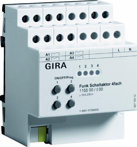 Preisvergleich Produktbild Gira 115500 Funk Schaltaktor 4-fach REG Bus