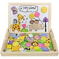 Tablero de Dibujo Magnético Puzzles Rompecabezas Lateral Doble de Madera para Niños de más de 3 Años (123 Piezas) - Peluches y Puzzles precios baratos