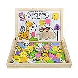 Tablero de Dibujo Magnético Puzzles Rompecabezas Lateral Doble de Madera para Niños de más de 3 Años (123 Piezas)