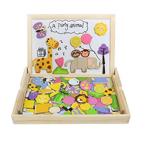 Akokie Puzzle di Legno Magnetico Giocattoli A Due Lati del Tavolo da Disegno Giochi Puzzle Animali per i Bambini Oltre 3 Anni (123 Pz)