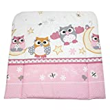 TupTam Baby Wickelauflage Gemustert mit Baumwollbezug, Farbe: Eulen Rosa, Größe: 70 x 70 cm