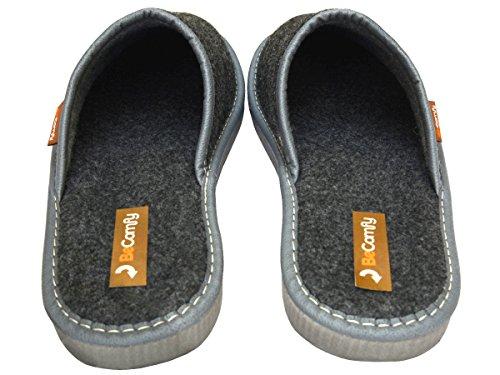 BeComfy Herren Filzpantoffeln Hausschuhe Pantoffel Filz profilierter Einlage Geschenkkarton (Wahlweise) Modell FM71 Schwarz+Box