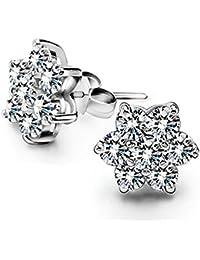 Lily 925 joyas de plata de ley de copo de nieve Edelweiss circonitas cúbicas Cristal austríaco Juego de pendientes de tuerca