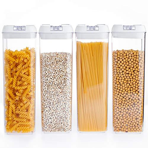 NUMYTON Stapelbare Vorratsdose Set 4 Stück, BPA frei, Frischhaltedosen in Allen Größen mit Deckel Lagerbehälter für Getreide Nüsse Trockenvorräte, Rechteckig, 1.9L