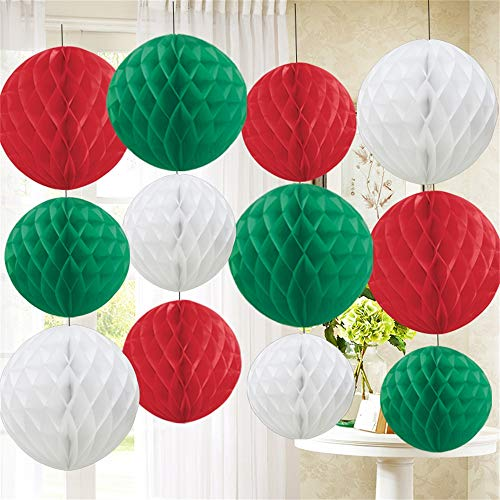 12 Pack od Tissue Paper Honeycomb Balls - red, white and green