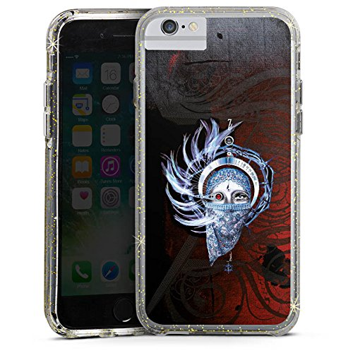 Apple iPhone 6s Bumper Hülle Bumper Case Glitzer Hülle Enigma Seven Lifes Many Faces Musik Bumper Case Glitzer gold