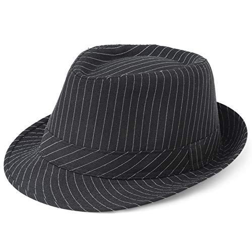 (Coucoland Panama Hut Mafia Gangster Herren Fedora Trilby Bogart Hut Herren 1920s Gatsby Kostüm Accessoires (Schwarz Streifen))