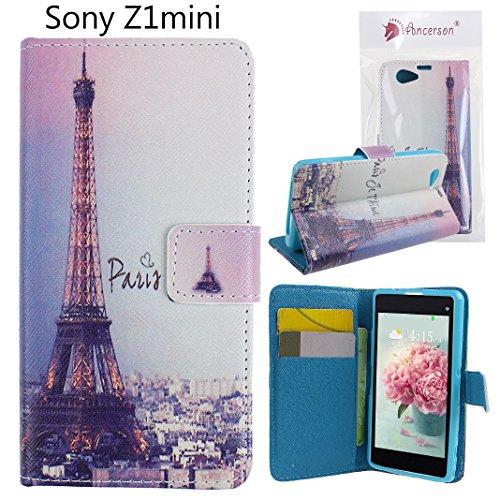 Ancerson PU Leder Schutzhülle für Sony Xperia Z1 Compact D5503/ Z1 mini/ Z1f Wallet Tasche Flip...