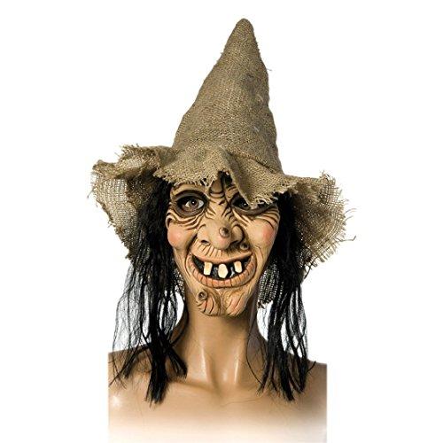 NET TOYS Runzelige Hexenmaske mit Hut und Haar Alte Hexe Maske hautfarbend Hexemaske Zauberin Vollmaske Magierin Latexmaske Halloween