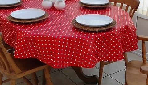 140x 300cm Nappe ovale en PVC/vinyle Motif à pois Rouge et Blanc