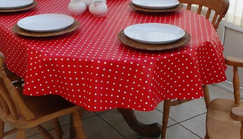 THE TABLECLOTH COMPANY 140 x 250 cm Ovale en PVC/Vinyle Nappe – Rouge et Blanc Polka Dot