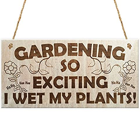 Red Ocean Gardening So Exciting I Wet My Plants! Funny Wetting Pants Novelty Garden Plaque Gift Gardening
