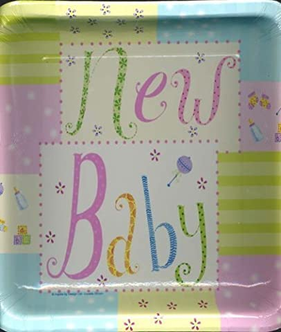 New Baby 10 in Square Banquet Plates (8 Plates) by Paper Art