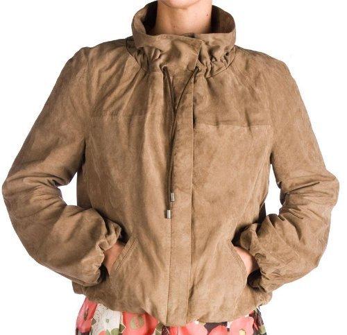 Redskins Fawn/Kaki morbida giacca in pelle scamosciata di capra beige Medium