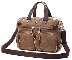Hybrid Backpack Messenger Bag | Convertible Laptop Messenger Backpack- Rucksack Bookbag Daypack- Waxed Canvas (Brown Canvas)