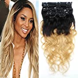 Romantic Angels 100% Remy Ombre Clip In Extensions Set Echthaar 7 teilig 70g Body Wave Haarverlängerung 45cm #1b/27