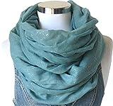Damen Schal Loopschal Glitzer Rundschal Tuch Viele Farben (One Size, Türkis)