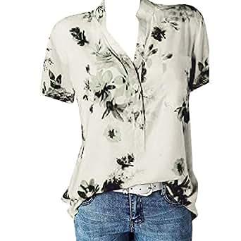 TianWlio Damen Langarmshirt Bluse T Shirt Tops Frauen V Ausschnitt mit Langen Ärmeln Druck Plus Größe Tops Lose Bluse