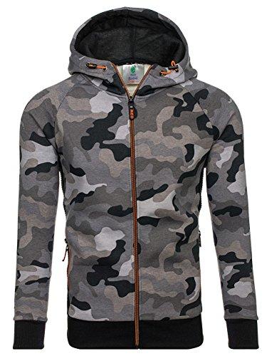 BOLF Herren Kapuzenpullover mit Reißverschluss Sweatshirt Military-Muster Camo Army RED FIREBALL W1379 Grau XL [1A1] (Logo Grau T-shirt Army)