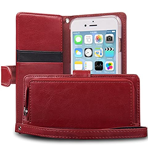 iPhone 6S Case, TORU [iPhone 6S Zipper Wallet Case] Card Slot Holder Magnetic Flip Cover with Zipper Pocket and Wrist Strap for iPhone 6S / iPhone 6 - Burgundy