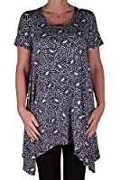 EyeCatch - Hope Womens Long Uneven Hem Black Print Ladies Short Sleeve Top Plus Sizes 14 - 28