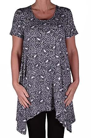 EyeCatch - Hope Womens Long Uneven Hem Black Print Ladies Short Sleeve Top Size 14