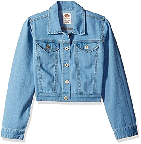 Dickies Girls' Big Girls' Denim Jacket, Bleach Stonewash with Tint,