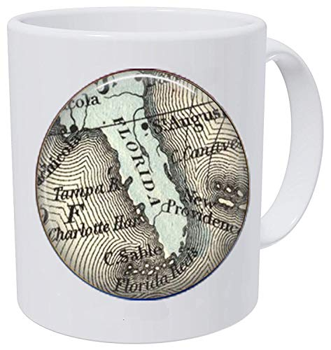 bab Florida Vintage Map Schlüsselanhänger Floridian-Tampa Bay - Miami - Ft. Lauderdale-Orlando - St. Augustine-Vintage Florida Everglades Kaffeetasse