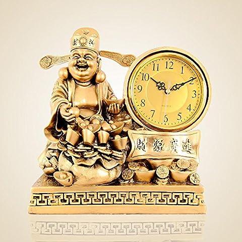 KHSKX Horloge de richesse de Maitreya salon Feng Shui boutique de cloches horloge antique de style européen ornements lorsque horloges horloge murale B