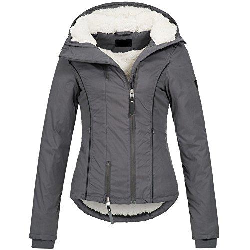 Ausnahme-Zustand Azuonda Damen Winterjacke Parka Jacke warm Teddyfell Kapuze XS-XL AZ25, Farbe:Grau, Größe:M / 38