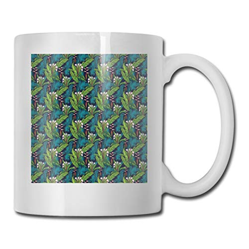 Jolly2T Funny Ceramic Novelty Coffee Mug 11oz,Tropical Jungle Palm Tree Banana Leaves Frangipani Heliconia On A Dark Blue Background,Unisex Who Tea Mugs Coffee Cups,Suitable for Office and Home