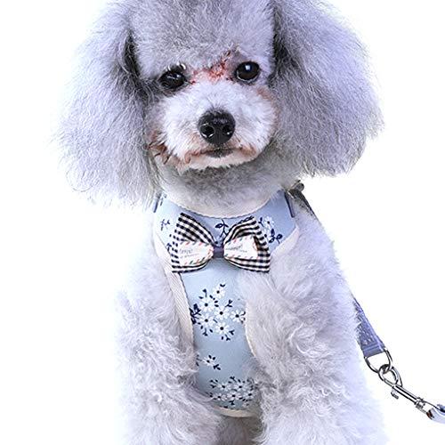Centitenk Welpen Kleines Hundegeschirr, verstellbares Soft Bowknot Baumwolle Haustierweste Geschirr zum Gehen - Remote-hund Ausbildung Kragen