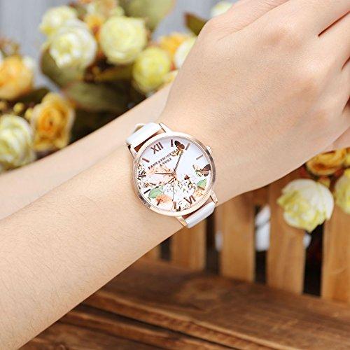 JSDDE Uhren,Vintage Schmetterling Blumen Damen Armbanduhr Basel-Stil Quarzuhr Lederarmband Rosegold Quarz Uhr,Weiss - 3