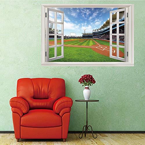 3D Fenster Wandtattoo Wandaufkleber Gebrochenes Loch (50X70 Cm) Baseball feld landschaft Schlafzimmer zimmer Landschaft kinderzimmer Wanddekoration Dekoration