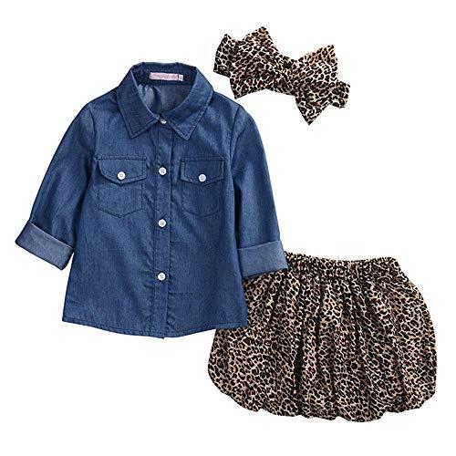 UMIWE Camicia di Jeans Bambino Ragazza Neonata Gonna Leopard Freddo Attrezzatura con Fascia Set di Vestiti 80 120 Altezza Bambini