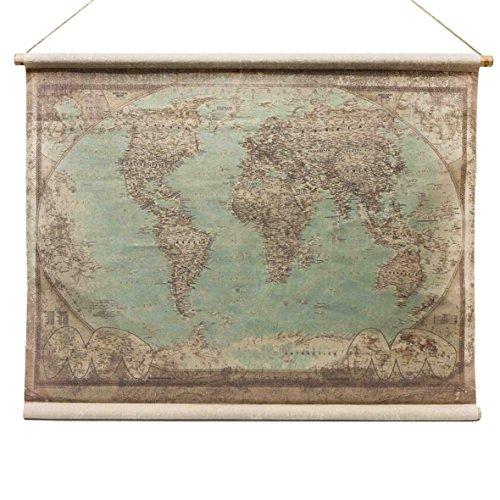 Antike Leinen Holz (Weltkarte Antik Globus - Stil Wandkarte aus Leinen Leinwandbild Vintage Historisch - Von Haus der Herzen®)