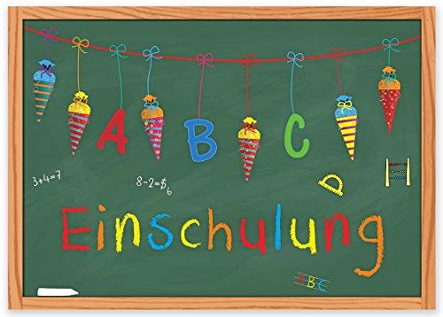 ArtUp.de 15 Einladungskarten zur Einschulung / Einladungen Set Schuleingang Schulanfang Schulbeginn 1. Schultag / mit Zuckertüte Schultüte und Tafel / Kinder Schulkind ABC-Schütze