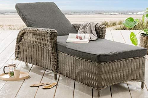 Destiny Liege Casa Luna Vintage Grau Polyrattan Gartenliege Relaxliege & Polster