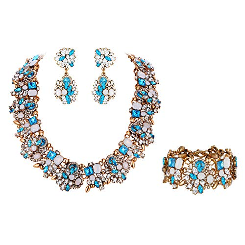 Flyonce Damen Schmuckset Kristall Vintage Floral Chunky Choker Halskette Ohrringe Armband Set Blau Antik-Gold-Ton