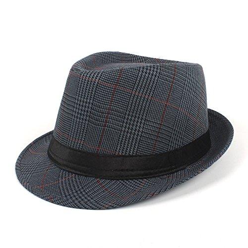 QianHaoQJu Sun Homburg Hut Für Männer Mode Baumwolle Plaid Fedora Hut Für Vater Gentleman Casual Caps Größe 58 cm (Farbe : Schwarz, Größe : 58 cm) (Baumwolle Plaid Fedora-hut)