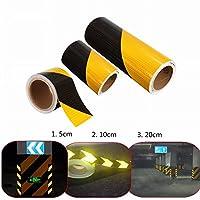 ungfu Cool 1pc 5cm/10cm/20cm Traffic Avertissement de sécurité nuit Bandes réfléchissantes Jaune Ruban biais Noir Sticker