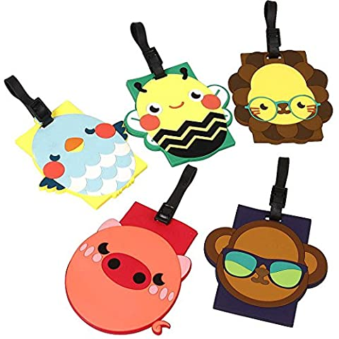 Bundle Monster 5 pc Silicone Mixed Design Travel Luggage Bag ID Tags - Set 4: Cute & Cuddly