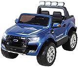 Actionbikes Motors Kinder Elektroauto Ford Ranger Modell 2018 Allrad 4x4 / 2x4 Lizenziert SUV 2 Personen 4 x 12 V 45 Watt (Total 180 Watt) (Blau lackiert)