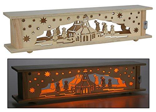 Weihnachtslandschaft aus Holz mit 10 LED Lampen