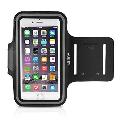 AUKEY Brassard Sport iPhone 6 / 6S Etui Brassard pour le Jogging / Gym / Course avec sangle réglable compatible avec iPhone, Samsung Galaxy / Note, HTC, LG, Sony et les autres smartphones inférieur à 5 Pouces ( Noir ) de AUKEY
