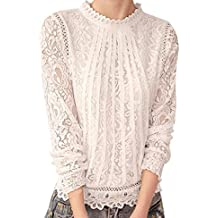 KUKUL Camisa de Manga Larga de Encaje Floral de Mujer, Hollow out Camiseta de Cuello