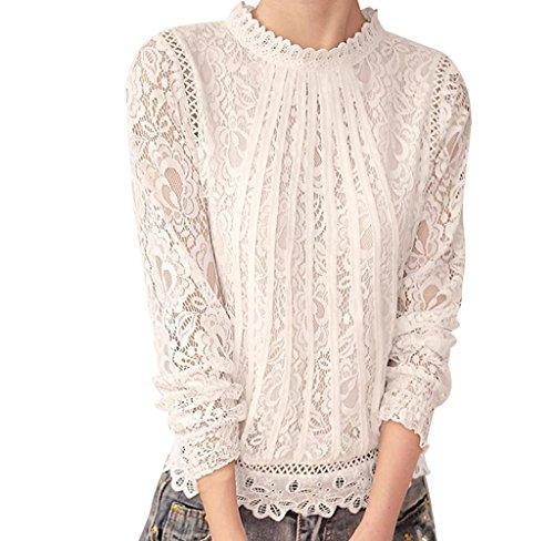 KUKUL Camisa de Manga Larga de Encaje Floral de Mujer, Hollow Out Camiseta de Cuello Redondo Alto de Gasa Basico Casual Moda Elegante (XL, Blanco)